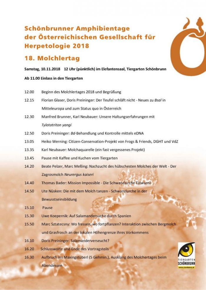 Programm 18. Molchlertag am Samstag den 10.November 2018
