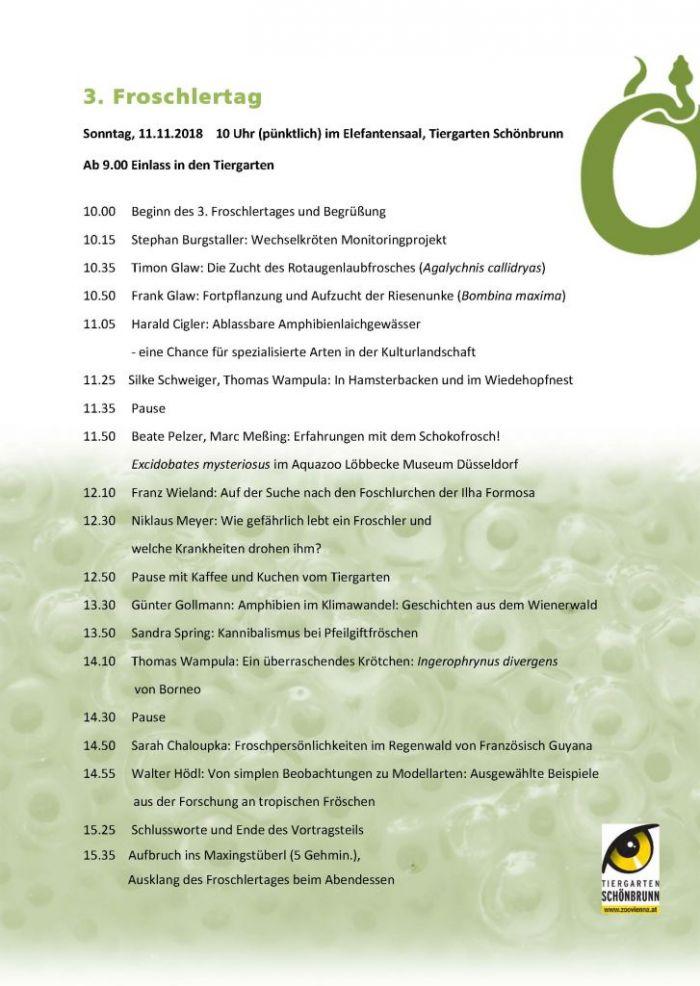 Programm 3. Froschlertag am Sonntag den 11. November 2018