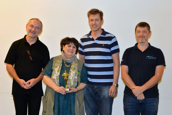 Preisträgerin Evelyn Kolar mit Anton Lamboj, Andreas Schramm und Michael Köck