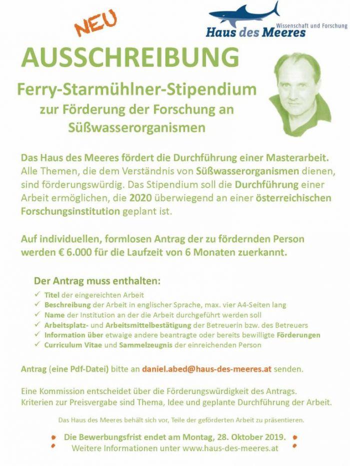Ausschreibung Ferry-Starmühlner-Stipendium 2020