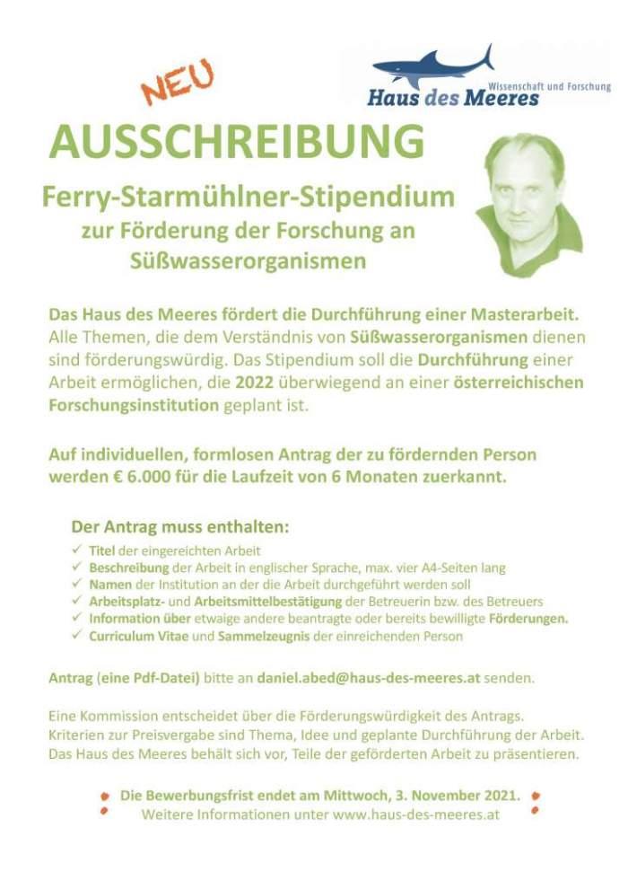 Ausschreibung Ferry-Starmühlner-Stipendium 2022