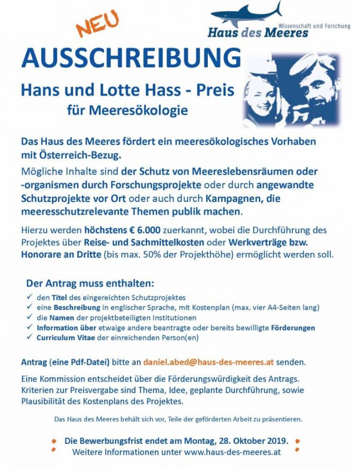 Ausschreibung Hans und Lotte Hass - Preis für Meeresökologie 2020