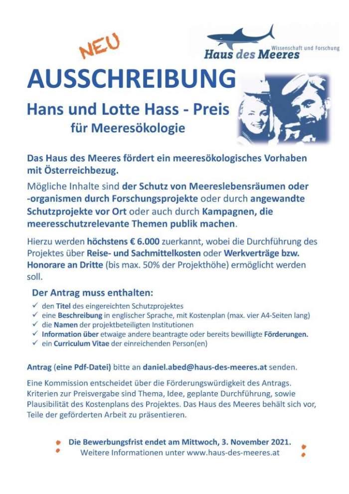 Ausschreibung Hans und Lotte Hass - Preis für Meeresökologie 2022