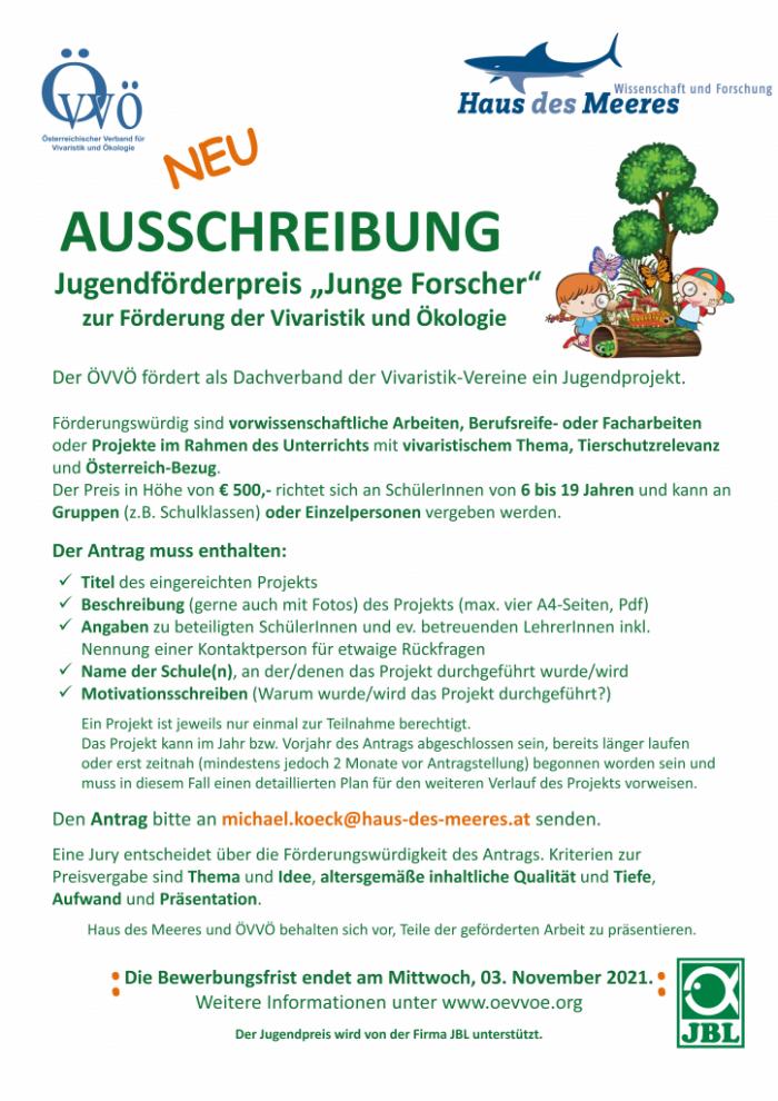 """Ausschreibung Jugendförderpreis """"Junge Forscher"""" 2022"""