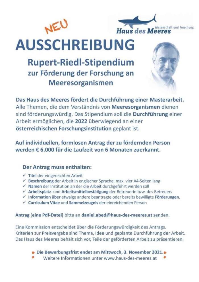 Aussschreibung Rupert-Riedl-Stipendium 2022
