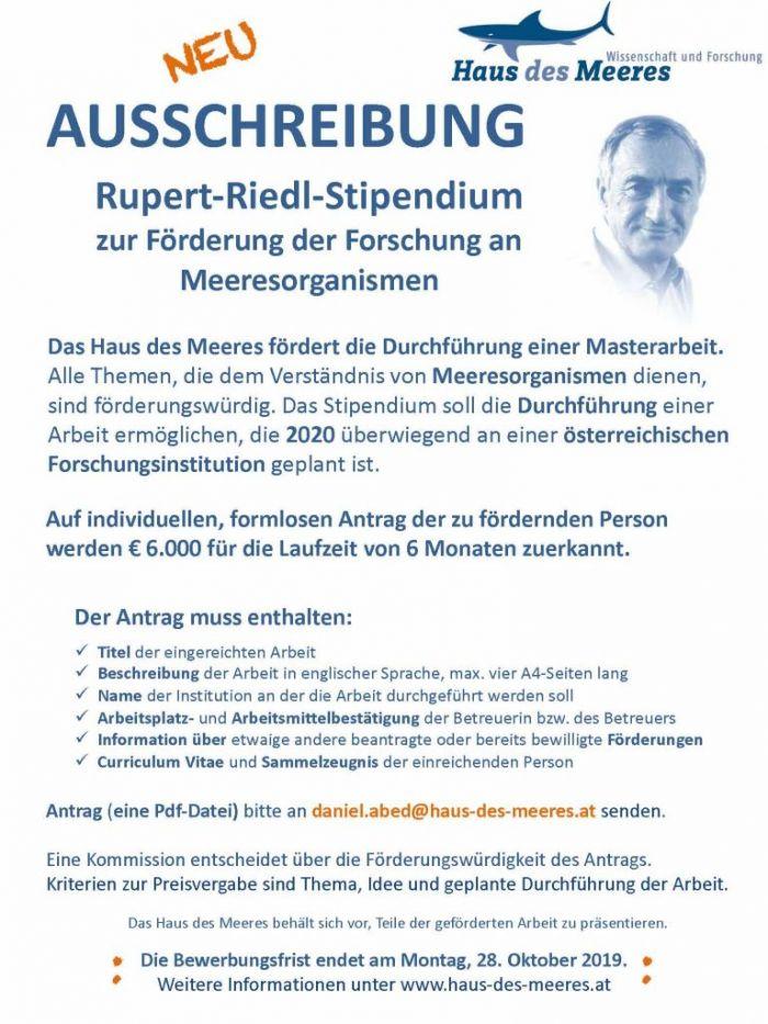 Aussschreibung Rupert-Riedl-Stipendium 2020
